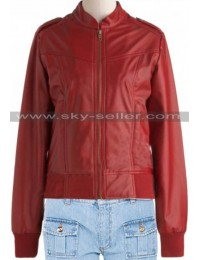 Waist Pockets Bomber Red Slimfit Leather Jacket
