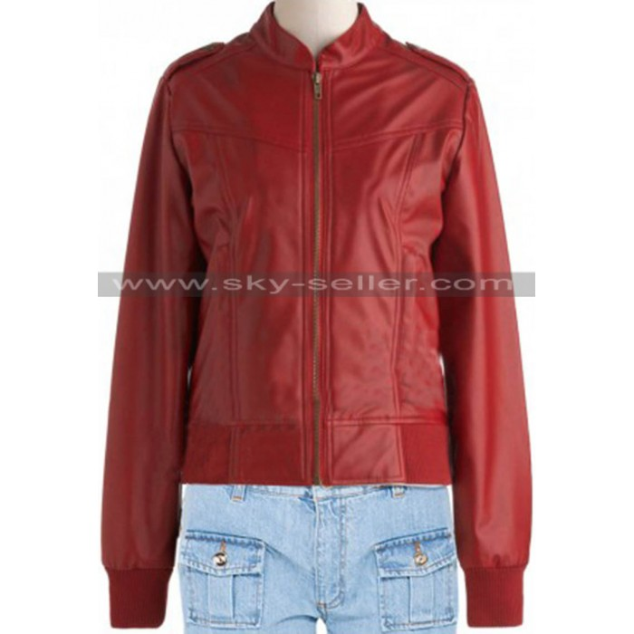 Waist Pockets Bomber Red Slimfit Leather Jacket