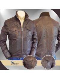 Slimfit Flap Pockets Brown Bomber Leather Jacket