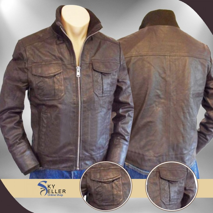 Slimfit Flap Pockets Brown Bomber Leather Jacket