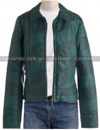 Mens Slimfit Green Stripes Bomber Leather Jacket