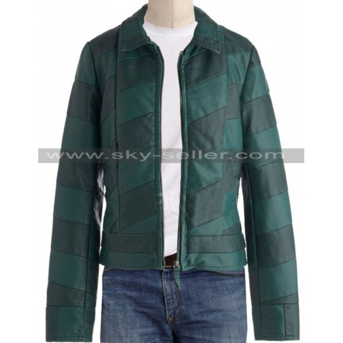 Mens Slimfit Green Stripes Bomber Leather Jacket