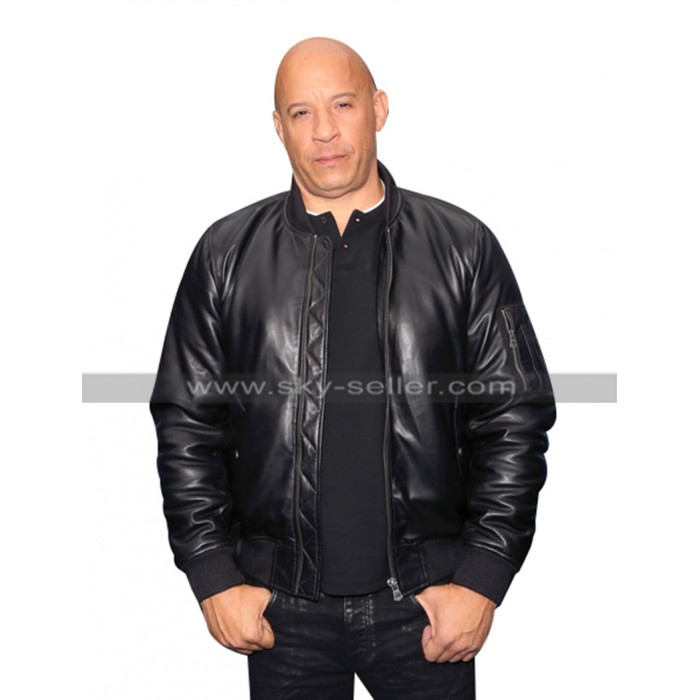Vin Diesel Fast and Furious Spy Racers Premiere Bomber Black Leather Jacket