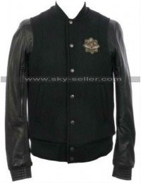 Teddy Varsity Leather Sleeve Baseball Jacket