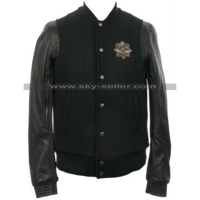 Teddy Varsity Leather Sleeve Baseball Jacket