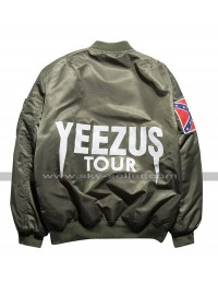 Kanye West Singer Yeezus Tour Bomber Satin Green / Black Jacket