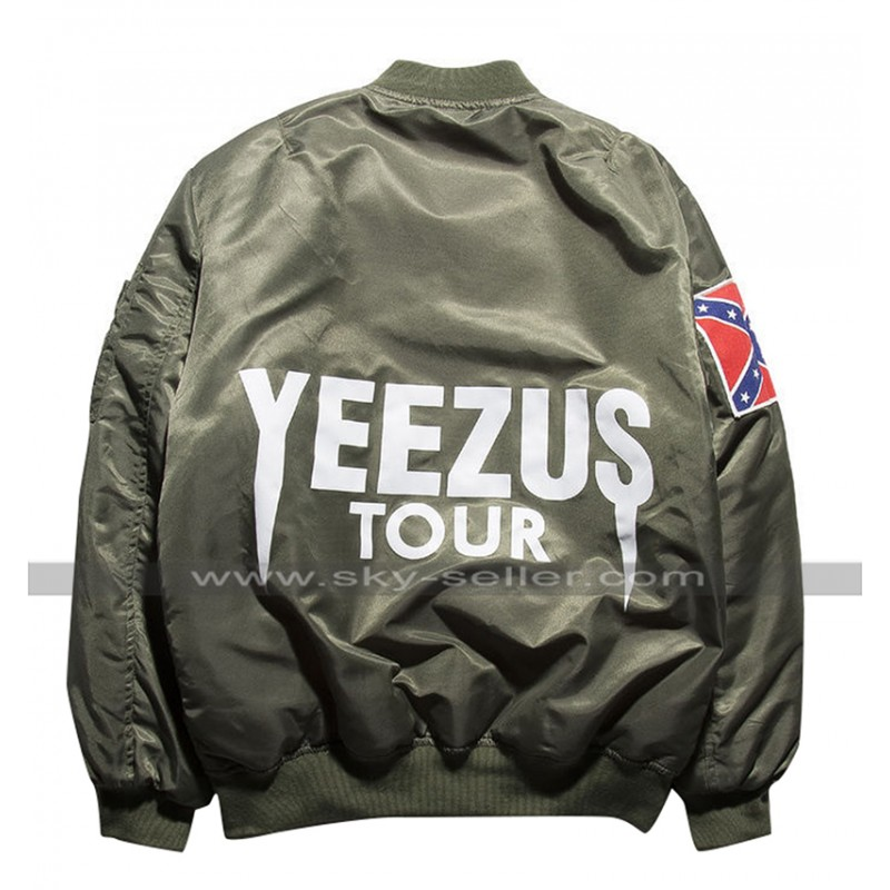 f7a6c6d39aa Kanye West Singer Yeezus Tour Bomber Satin Green   Black Jacket
