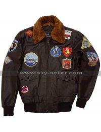Top Gun Maverick 2020 Tom Cruise Fur Patches G1 Aviator Brown Bomber Leather Jacket