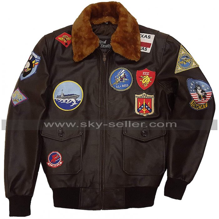 Top Gun Maverick 2020 Tom Cruise Fur Patches G1 Aviator Brown Bomber Leather Jacket