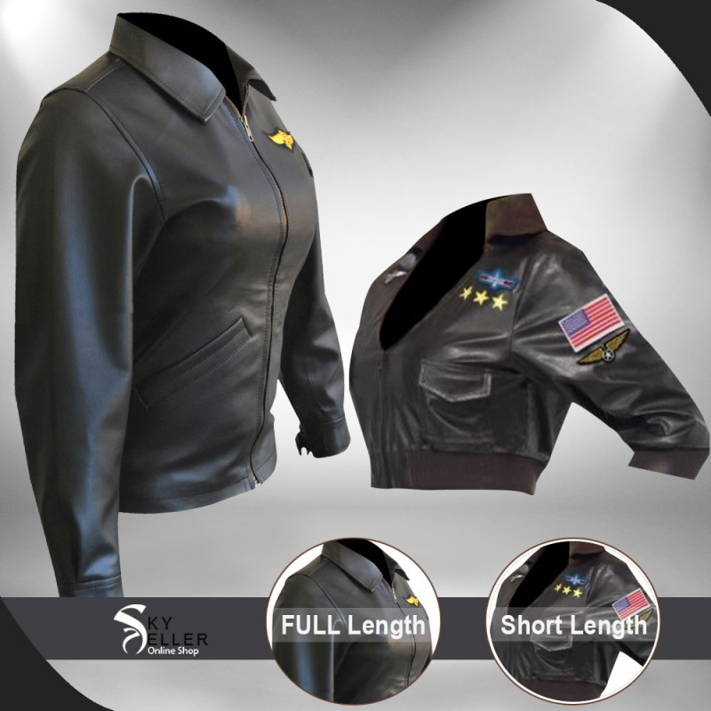 Bomber Black Pilot Aviator Leather Jacket Charlie Women Top Gun Kelly McGillis