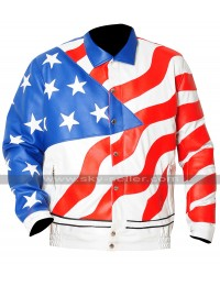 Vanilla Ice America Flag Bomber Leather Jacket