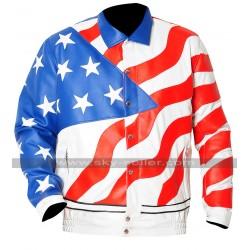 Vanilla Ice America Flag Bomber Leather Jacket