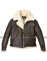 RAF WWII B3 Aviator Pilot Flight Fur Shearling Brown Bomber Leather Jacket