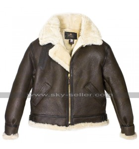 RAF WWII B3 Aviator Pilot Flight Fur Shearling Brown Bomber Leather Jacket