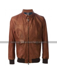 Wes Bentley American Horror Story John Lowe Bomber Biker Brown Leather Jacket
