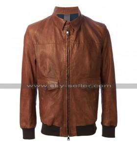 Wes Bentley American Horror Story John Lowe Bomber Biker Brown Leather Jacket