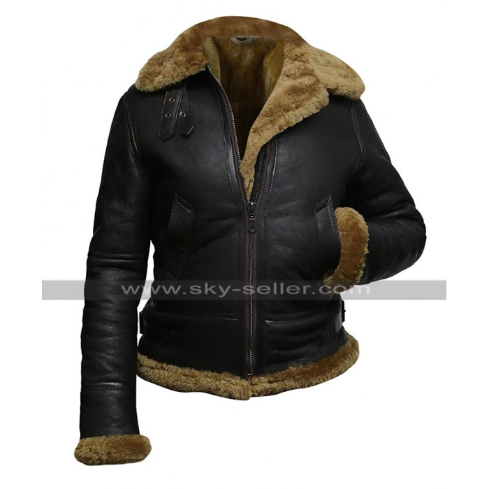 Womens B3 Aviator Pilot Flying Fur Shearling Dark Brown Hoodie Bomber Leather Jacket