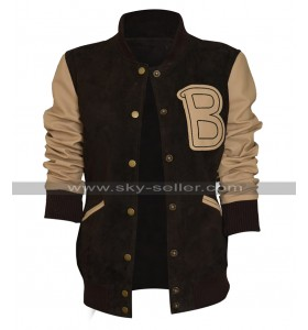 Womens Hotline Miami Costume Bomber Baseball Brown Varsity Letterman Jacket