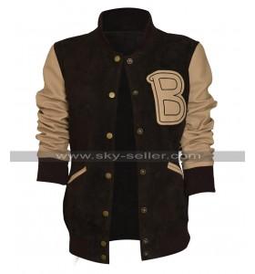 Womens Hotline Miami Costume Bomber Baseball Brown Varsity Letterman Jacket