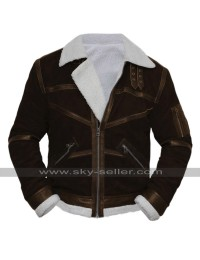 50 Cent Fur Shearling Brown Suede Leather Bomber Jacket