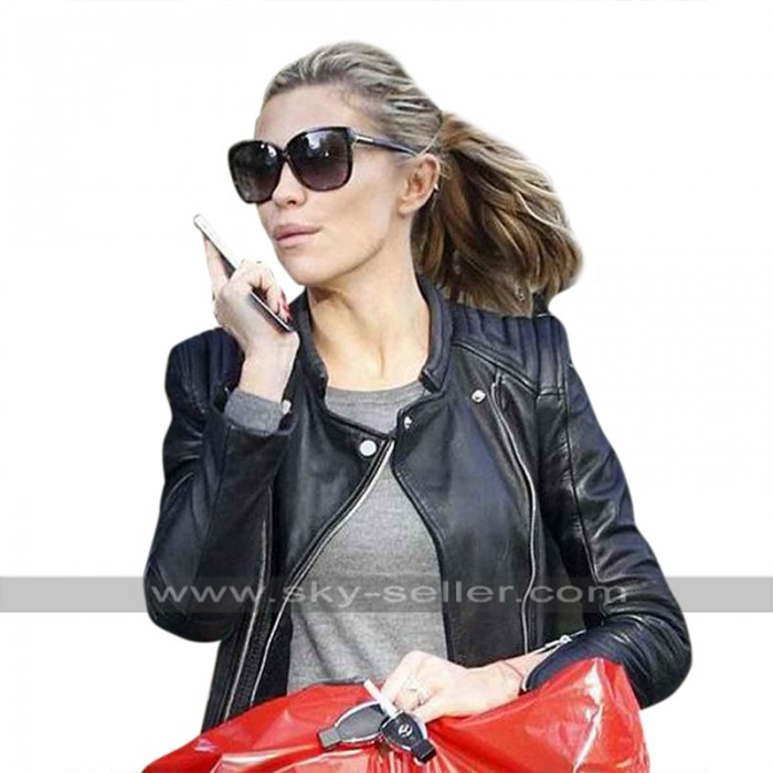 Abigail Marie Abbey Clancy Quilted Shoulders Black Biker Leather Jacket