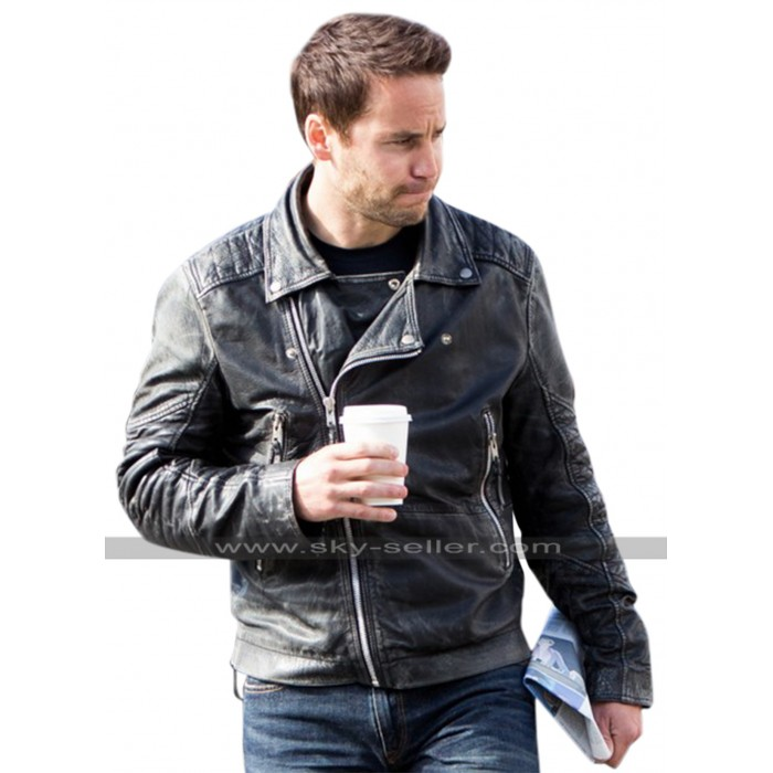 Taylor Kitsch Movie American Assassin Distressed Black Leather Jacket