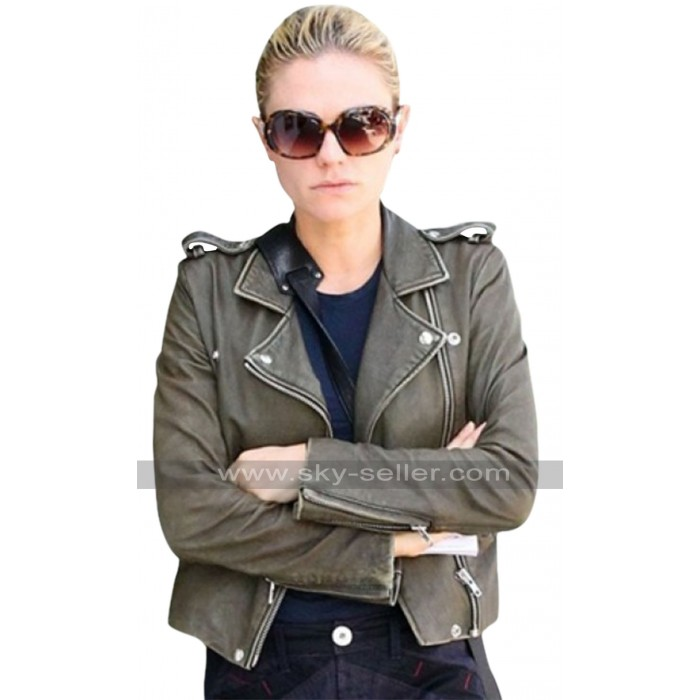 Anna Paquin Olive Green Short Body Leather Jacket