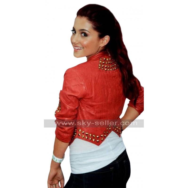 7523eb5673 Ariana Grande Studded Short Body Leather Jacket