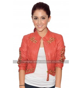 Ariana Grande Studded Short Body Leather Jacket