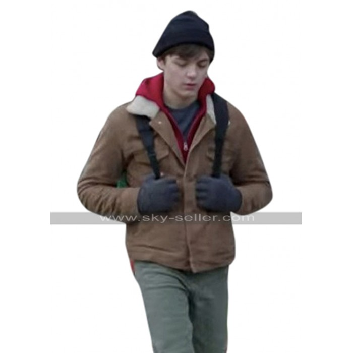 Billy Batson Shazam Asher Angel Fur Collar Brown Suede Leather Jacket
