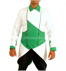 Assassin's Creed 3 Connor Kenway Faux Green-White Jacket Costume