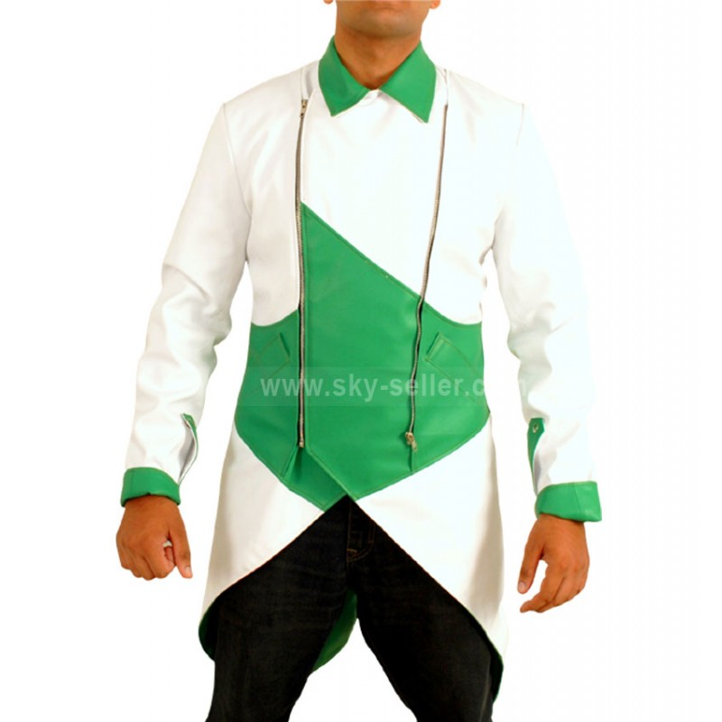 Creed 3 Connor Kenway Faux Green-White Jacket Costume