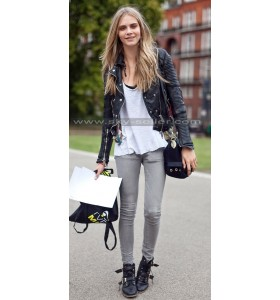 Cara Delevingne Asymmetrical Zipper Black Leather Jacket