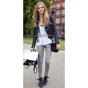 Cara Delevingne Asymmetrical Zipper Black Leather Jacket