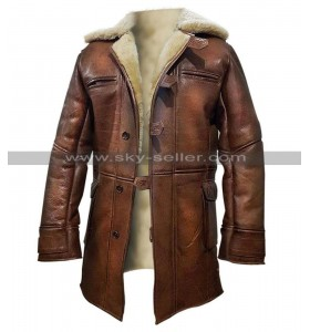 Batman Dark Knight Rises Bane Fur Shearling Brown Leather Coat