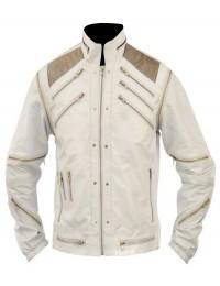 Beat It Michael Jackson White Leather Jacket