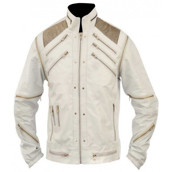 Beat It Michael Jackson White Leather Jacket