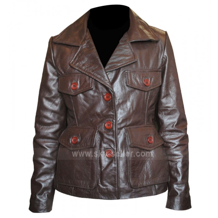 Bedtime Stories Keri Russell (Jill) Brown Leather Jacket