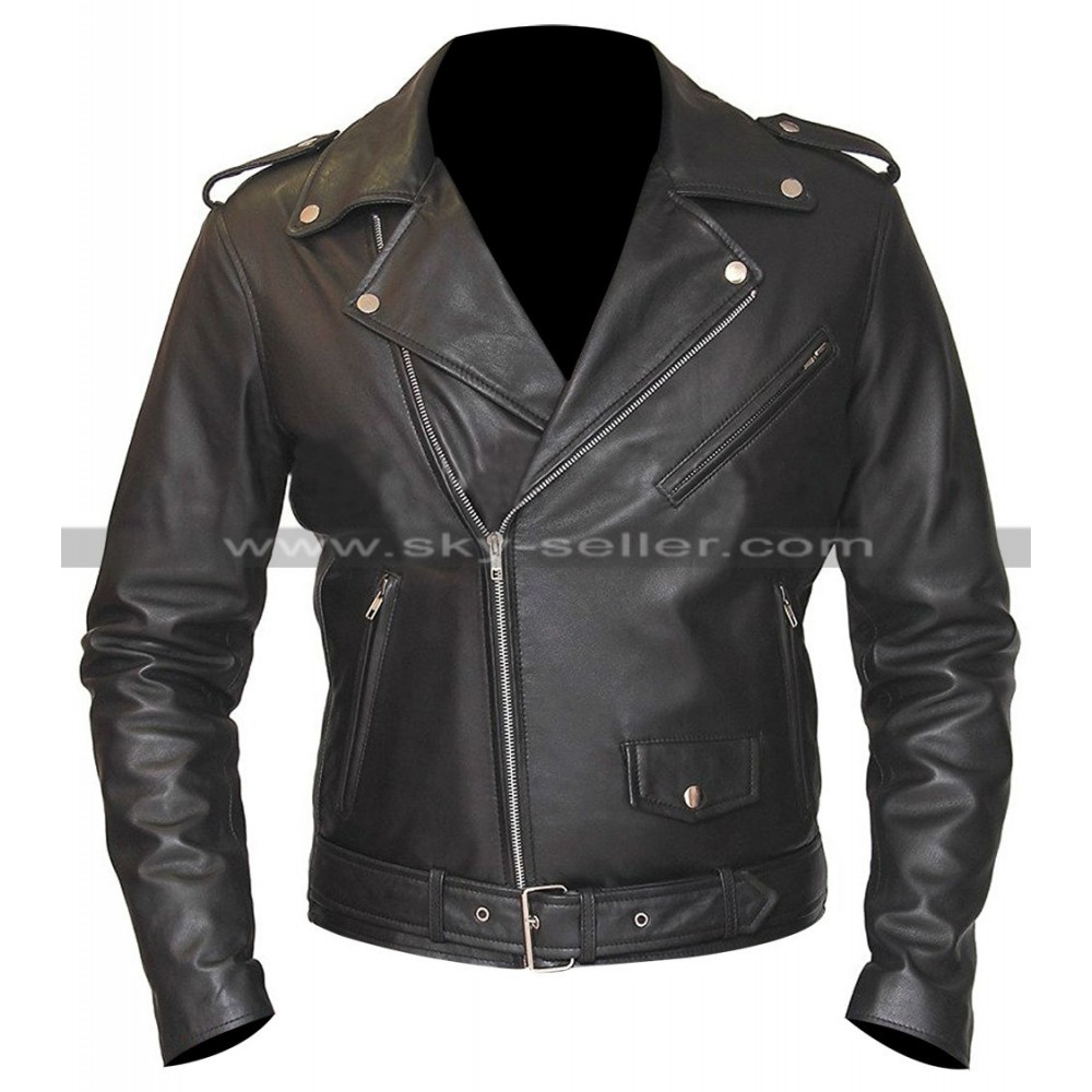 Belted Rider Biker Black Leather Jacket