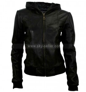 Black Hoodie Style Leather Jacket For Women