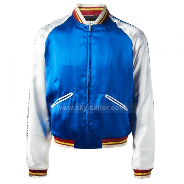 Saint Laurent Satin Bomber Blue Jacket