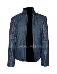 Captain America Winter Soldier Blue Leather Jacket