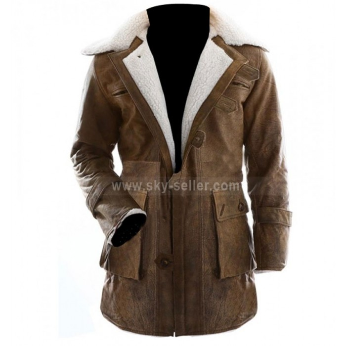 The Dark Knight Rises Bane Fur Shearling Leather Coat