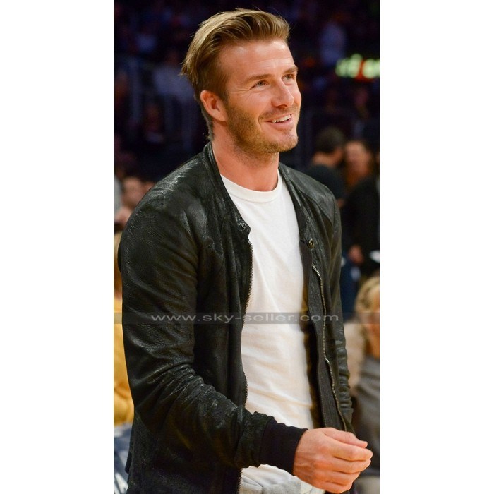 David Beckham Lakers Game Black Bomber Jacket