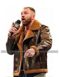 WWE Raw Dean Ambrose B3 Aviator Fur Shearling Bomber Brown Leather Jacket
