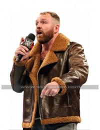 WWE Raw Dean Ambrose B3 Aviator Fur Shearling Bomber Brown Leather Jacket