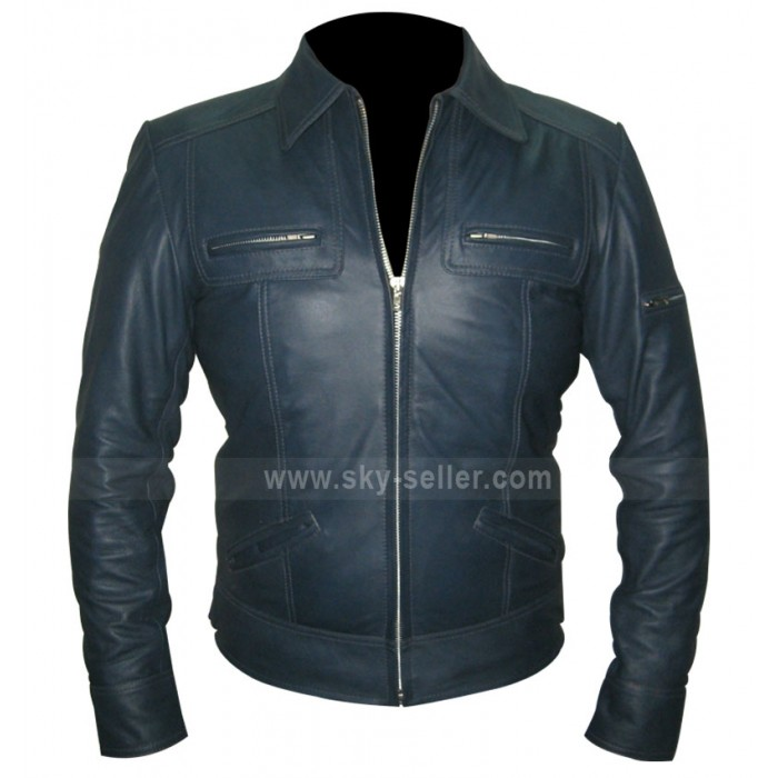 Designer Unisex Navy Blue Leather Jacket For Sale