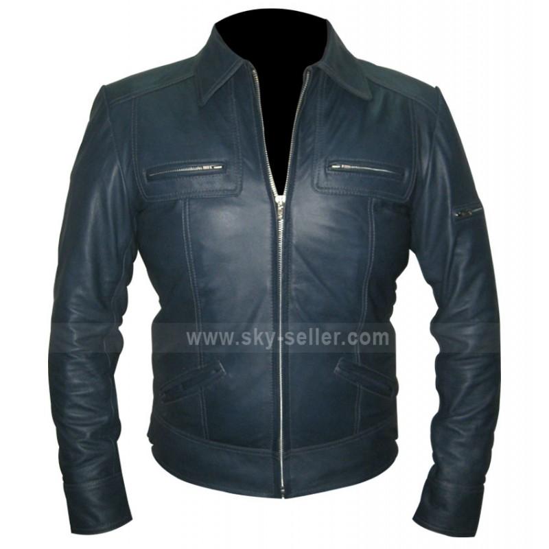 Designer Unisex Navy Blue Leather Jacket For Sale