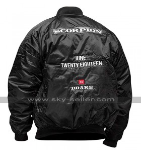 Scorpion Drake June Twenty Eighteen Bomber Black Satin Jacket