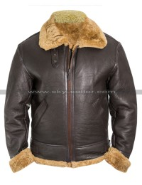 Tom Hardy Dunkirk Farrier Brown Shearling Leather Jacket
